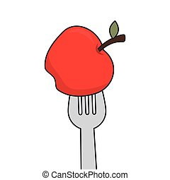 fork with red apple