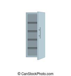Kitchen fridge icon, flat style