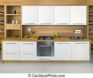 Full frame of simple modern kitchen