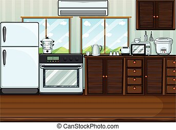 Kitchen full with furnitures and equipments illustration