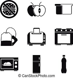 Kitchen furnace icons set, simple style