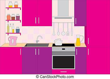 Kitchen furniture. Interior