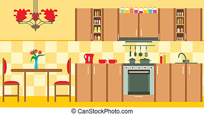 Kitchen furniture. Interior - Vector illustration, color...