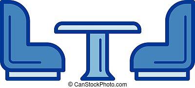 Kitchen furniture line icon.