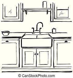Kitchen furniture sketch. Hand drawn interior