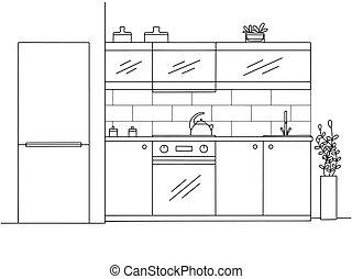 Kitchen furniture. Vector illustration in sketch style