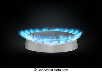 kitchen gas burner on black. realistic vector illustration