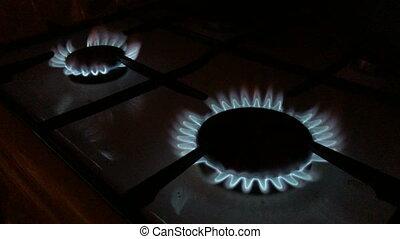 kitchen gas burners in the dark