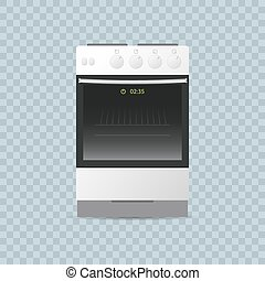 kitchen gas stove on transparent background. editable realistic vector illustration.
