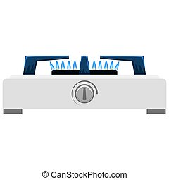 Kitchen gas stove with side view. Flat and solid color style vector illustration.