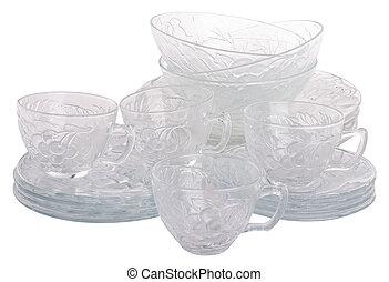kitchen glassware wok on background.