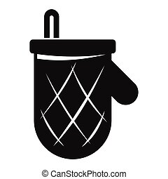Kitchen glove in black simple silhouette style icons vector illustration for design and web