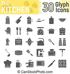 Kitchen glyph icon set, household symbols collection, vector sketches, logo illustrations, cooking signs solid pictograms package isolated on white background, eps 10.