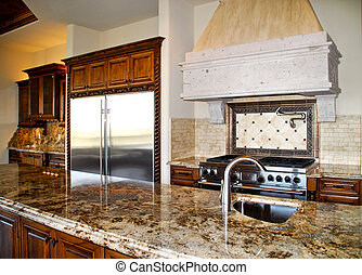 kitchen granite - kitchen with granite countertop