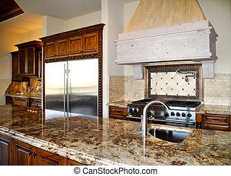 kitchen granite - kitchen with granite countertop