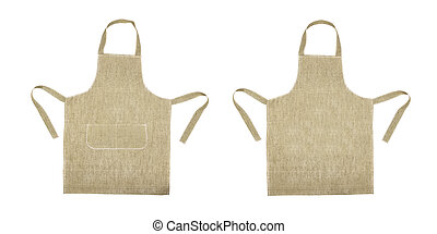 Kitchen gray apron. Front and back view