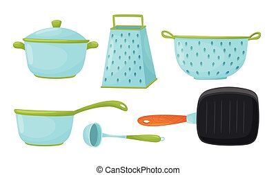 Kitchen Handy Tools for Cooking Food with Frying Pan and Soup Ladle Vector Set