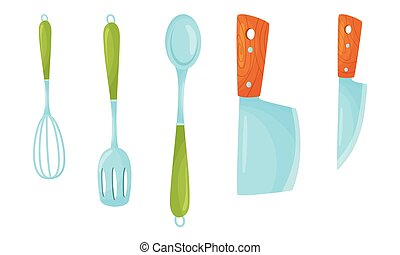Kitchen Handy Tools for Cooking Food with Knives and Spatula Vector Set