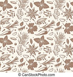 Kitchen herbs and spices vector seamless pattern