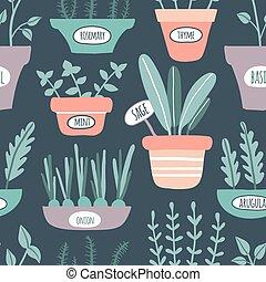 Kitchen herbs seamless pattern