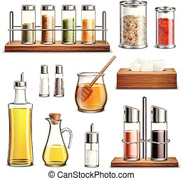 Kitchen Herbs Spices Realistic Set