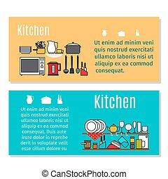 Kitchen horizontal flyers in cartoon style
