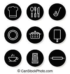 kitchen icon in white color set illustration