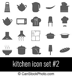 Kitchen. Icon set 2. Gray icons on white background.