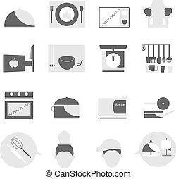 Kitchen icons on white background