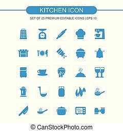 Kitchen icons set blue