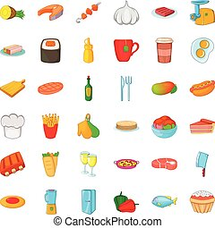 Kitchen icons set, cartoon style