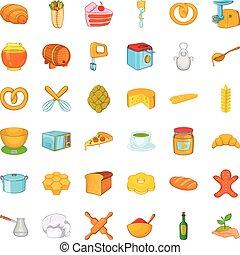 Kitchen icons set, cartoon style