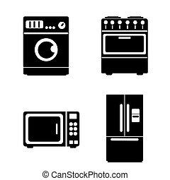 Kitchen icons set. Flat design. Vec