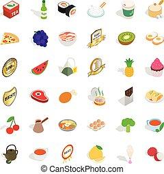 Kitchen icons set, isometric style