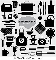 Kitchen icons set of tools