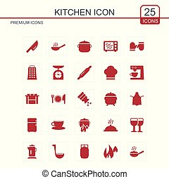 Kitchen icons set red