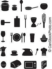 Kitchen icons set, silhouettes