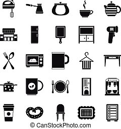 Kitchen icons set, simple style