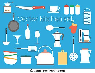 Kitchen icons vector set flat design