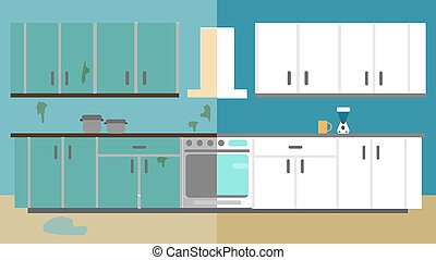 Kitchen Improvement Before and After Repair. Home Interior Renovation. Flat style illustration.