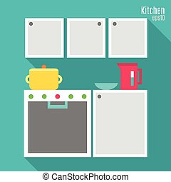 Kitchen in flat style
