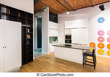 Kitchen in loft - Modern design of small kitchen in new loft