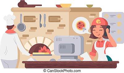 Kitchen in pizzeria