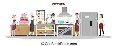 Kitchen in restaurant.