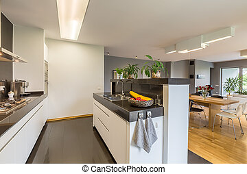 Kitchen in white and black colors - Modern kitchen designed ...