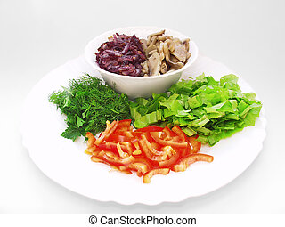 Kitchen ingredients. Mushrooms, onions, peppers and other vegetables on a white background