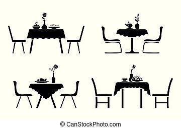 Kitchen interior black and white icon set