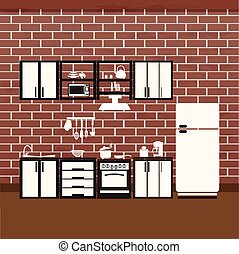 Kitchen interior concept, cooking room illustration background