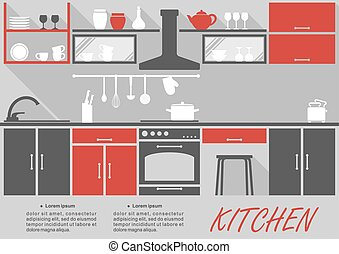 Kitchen interior decor infographic template with space for...