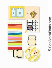 Kitchen Interior Design Icon Vector Illustration